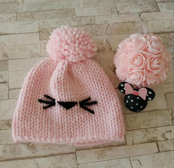 Handknit Kitty Beanie Knit Hat Baby shower Gifts Toddler