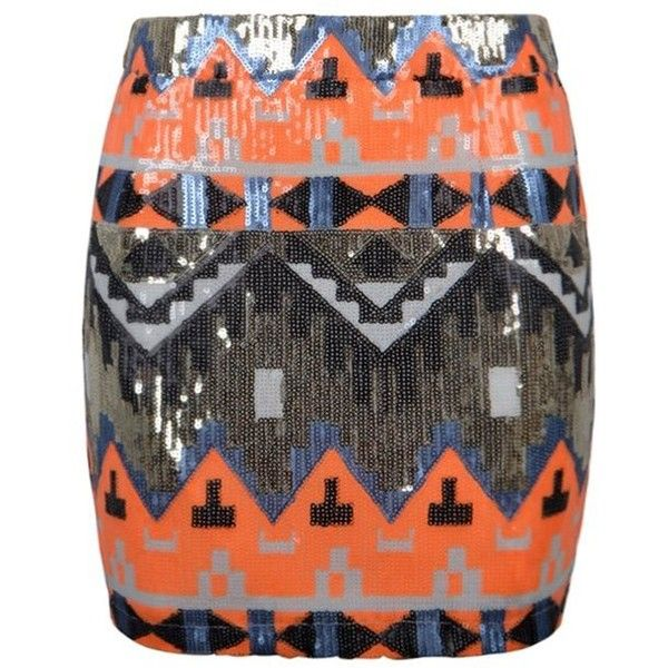 BRIGHT AZTEC SEQUIN MINI SKIRT ❤ liked on Polyvore featuring skirts, mini skirts, aztec mini skirt, mini skirt, short sequin skirt, aztec sequin skirt and bright skirts