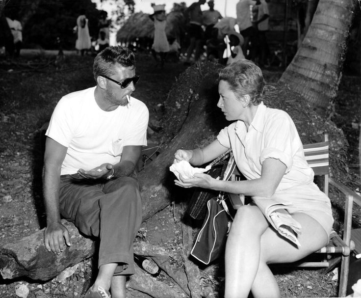 Robert Mitchum and Deborah Kerr on the set of Heaven Knows, Mr. Allison, 1957, directed by John Huston.