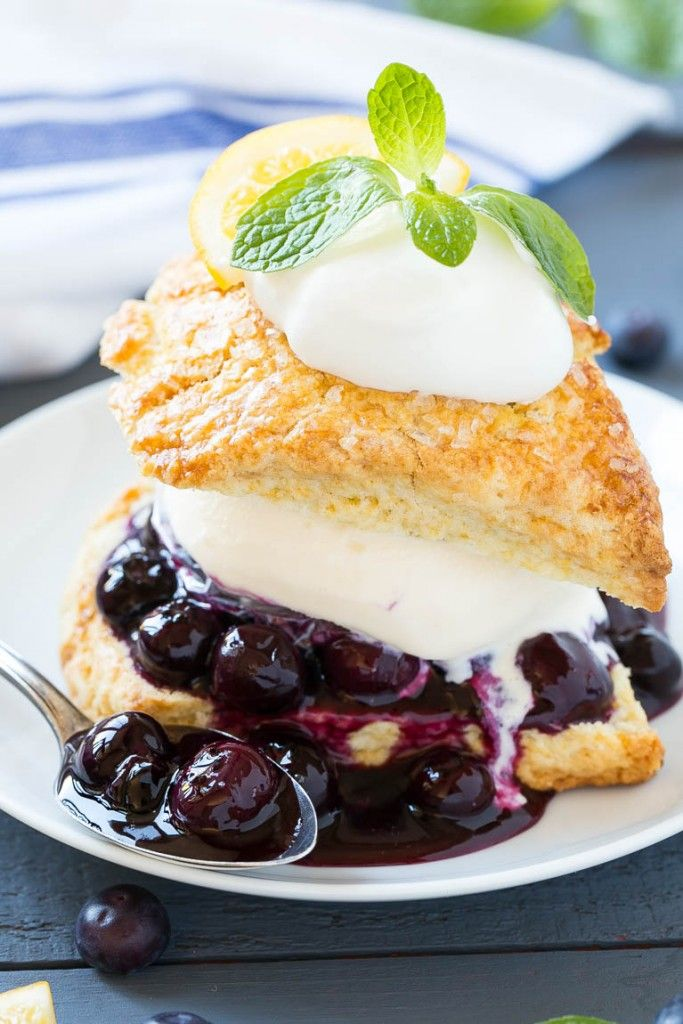 Blueberry Shortcake: vanilla ice cream and homemade blueberry sauce sandwiched between lemon shortcake & finished off with whipped cream.