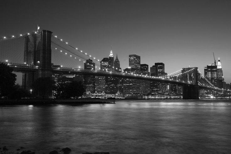 Fotobehang: New York - Brooklyn Bridge Zwart-Wit - op maat gemaakt voor maar € 11,95 per m2!
