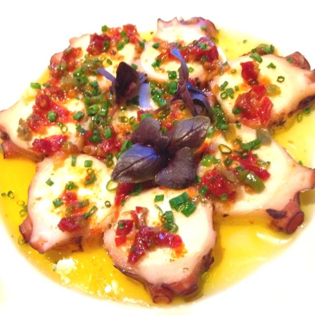 Carpaccio of Octopus; Olives, Lemon Confit, Chives - Le Bernadin (City Harvest menu)
