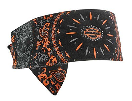 buy hats online australia Harley Davidson Women  s Tribal H D Skull Headband Black  amp  Orange HP05164 http   bikeraa com harley davidson womens tribal h d skull headband black orange hp05164
