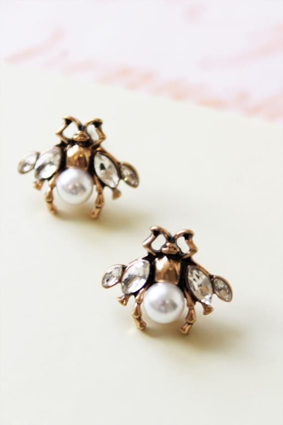 Honey Bee Earrings Stud Jewelry Insect Pearl Statement Gift For Her Antique Gold Bronze Uk In 2019 Etsy