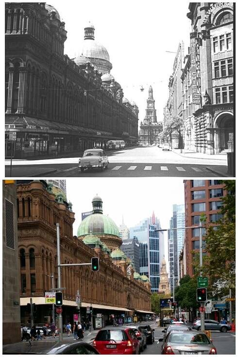 Looking south along York Street from Market Street,  c1963 > 2016. [City of Sydney Archives > Allan Hawley. By Allan Hawley]