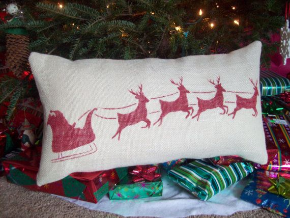 Christmas Pillow Cover - Burlap Decorative Pillow Cover Santa and Reindeer in Red on Off White Burlap 12 x 24 by North Country Comforts on Etsy, $37.00