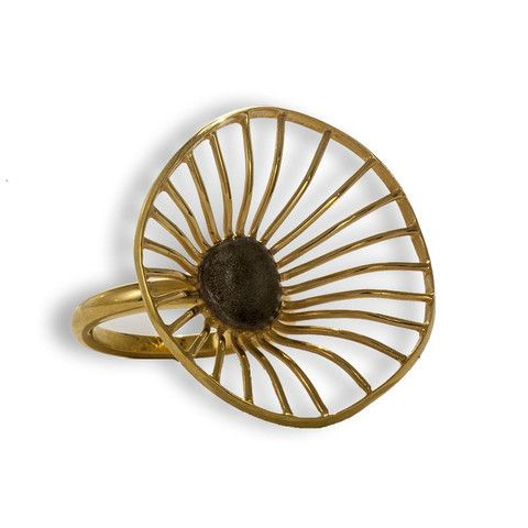Handmade Gold Plated Silver Flower Ring