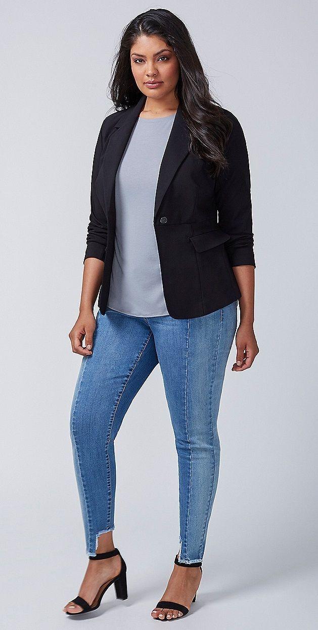 Plus Size Peplum-Back Blazer