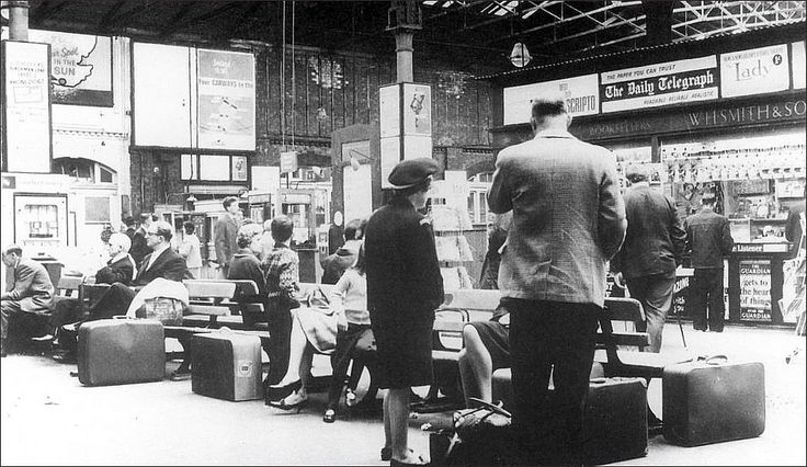 https://flic.kr/p/8WKAth | Leeds Central. 1965. | Business travellers and holiday makers crowd together on the station concourse, around this period the journey time to King's Cross would  have been around 4.5hrs, the popular holiday destinations from this station included Cleethorpes and Southport... Photo...YP.