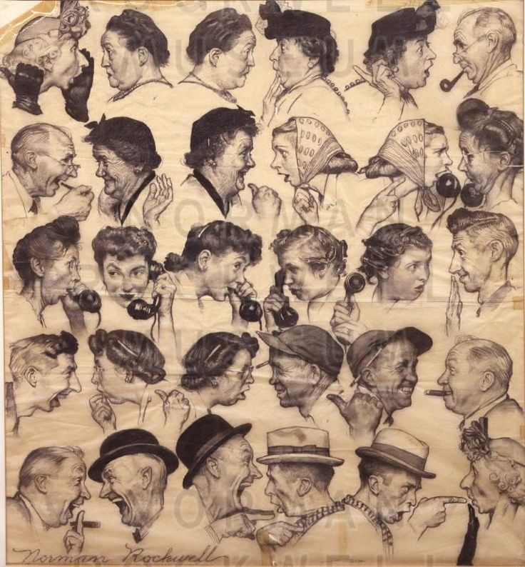 The pencil sketch for one of Norman Rockwell's most famous covers - 'The Gossips' - Norman Rockwell Museum