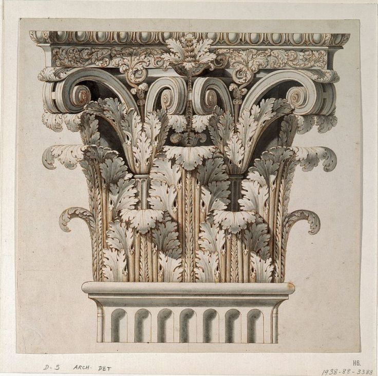 Architectural drawing. Corinthian capital. 1798. after Giocondo Albertolli. pen brown ink and grey wash on paper