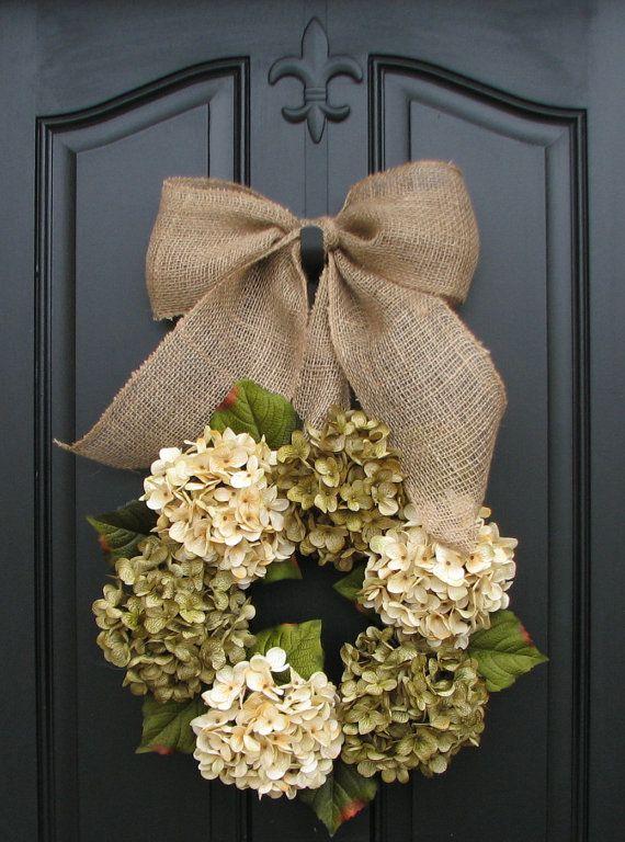 Wreath, Spring Wreaths, Year Round Floral Wreath, Shabby Chic Decor, Burlap Ribbon, Floral Decor, Spring Wreaths, Spring Hydrangeas via Etsy