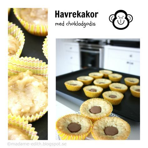 Lättbakade och goda havrekakor med center - En favorit bland småkakor Recept 150 g smör 1 ägg 1,5 dl strösocker 1,5 dl havreg...