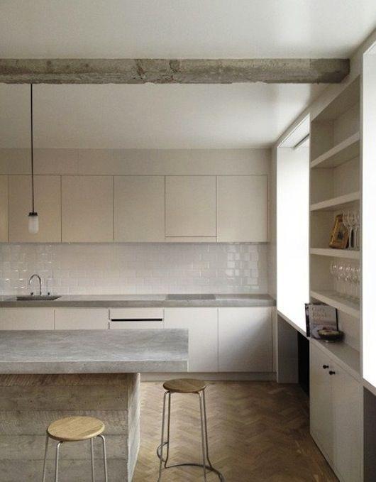 White Kitchen. Concrete counter. Parquet floor. kitchen: