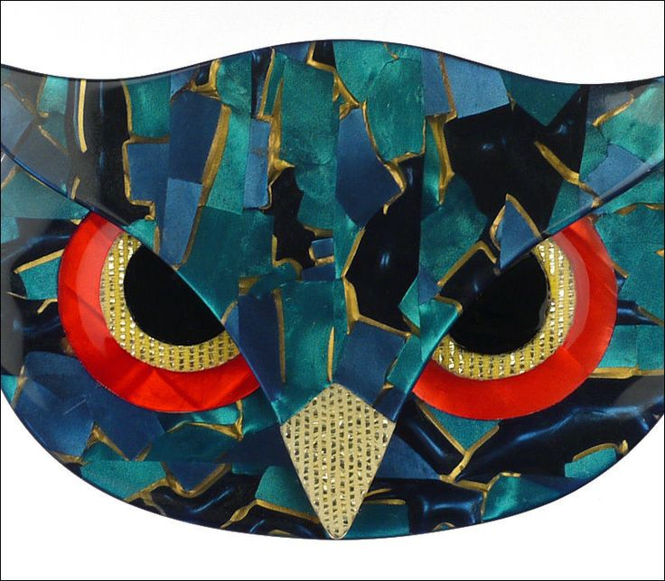 LEA STEIN FIGURAL TURQUOISE BLUE MOSAIC ATHENA THE OWL HEAD FACE BIRD BROOCH PIN #LeaStein
