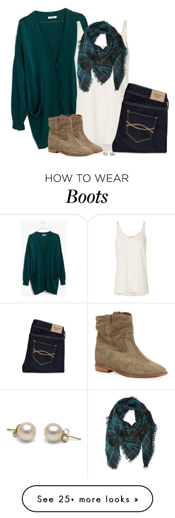 """Teal green cardigan, frayed plaid scarf & suede boots"" by steffiestaffie on Polyvore featuring Madewell, sass & bide, Abercrombie & Fitch, Forever 21 and Isabel Marant"