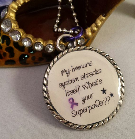Crohn's Awareness UC Lupus Awareness,Epilepsy, My immune system attacks itself. What's your Superpower with purple awareness ribbon by QuietMindDesigns