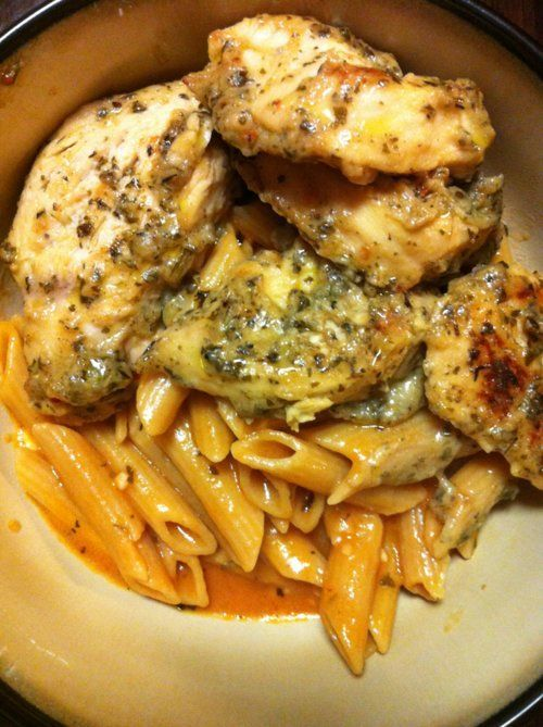 Recipe: Garlic Pesto Chicken with Tomato Cream Penne Summary: This chicken was DIVINE!!! It was so so good I really could have kept on chowing down!! Ingredients 1/2 bottle of Lawrys Herb and Garlic Marinade 2 large spoonfuls of Pesto 2 boneless chicken breasts Sauce: 8 ounces of your choice of pasta (I used whole …