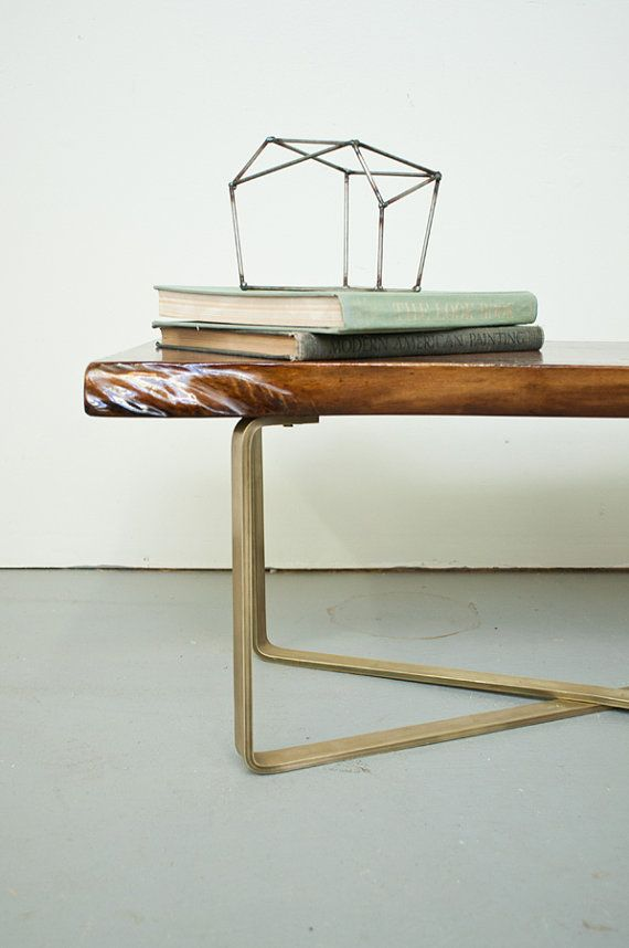 Dylan Design Company's Walnut Slab Coffee Table on a Brass Base.  Handcrafted by designer, artist and woodworker Tony Oliver.