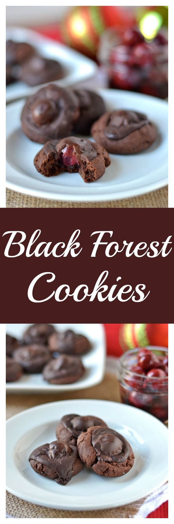 Black Forest Cookies.Soft and fudgy cookies with a hidden cherry on the inside.  A winner for any cookie exchange! (Cherry Bake Oatmeal)