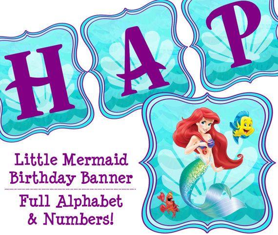 Little Mermaid Party Banner Little Mermaid Banner Little Mermaid Letter Art