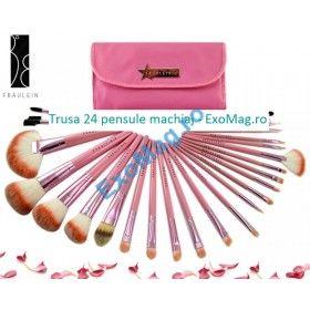 Trusa 24 pensule makeup Fraulein38 - http://exomag.ro/pensule-machiaj-profesionale-makeup/trusa-24-pensule-machiaj-profesionale-fraulein38-rose-candy.html