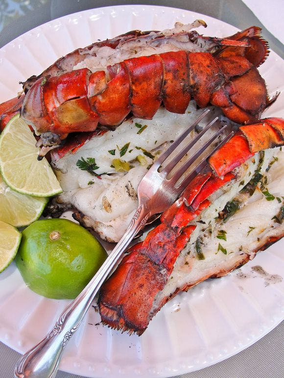 Grilled Lobster with Cilantro Butter -
