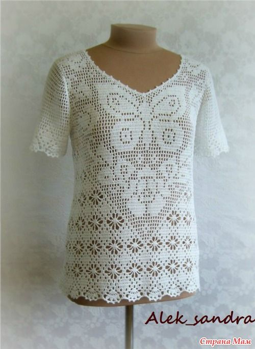 Filet crochet top ( A LOT of filet crochet tops at this site)