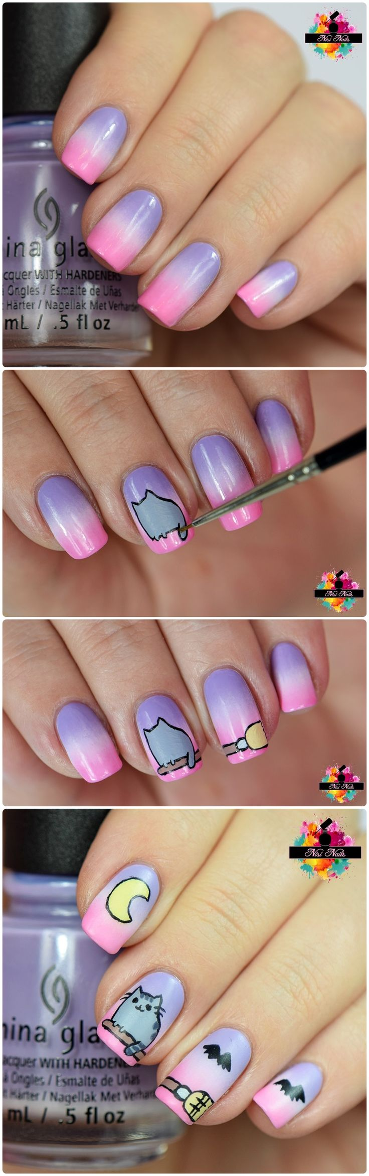 Pusheen Nails | nisinails.de | Pusheen Nageldesign 2016 | Halloween Pusheen Nail Art