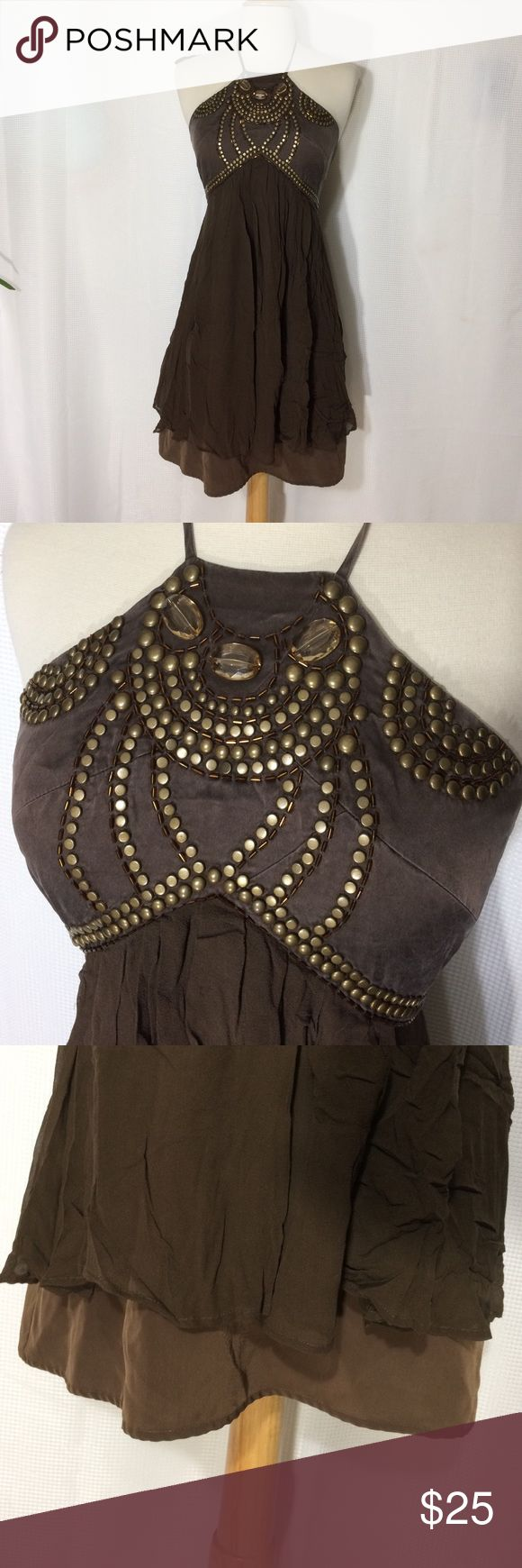 Brown party dress Like new. Semi formal short dress. (It does zip all the way but not on my mannequin). Dresses Mini