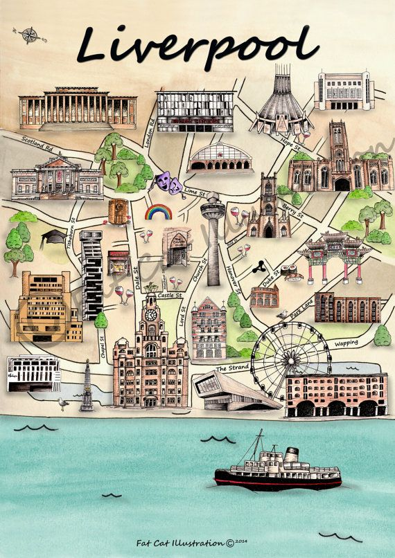 Illustrated Liverpool Map by FatCatIllustration on Etsy, £2.50