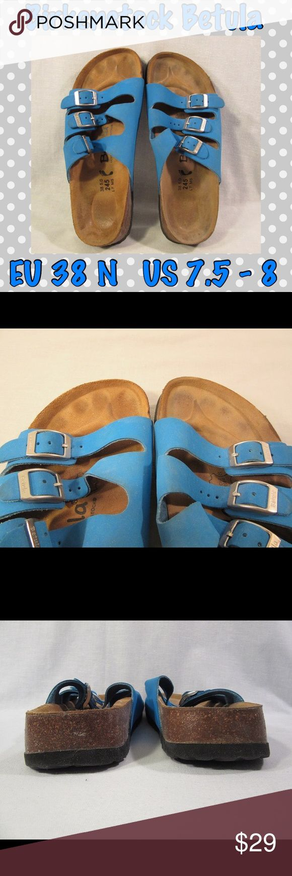 🚫SOLD🚫 BETULA Blue Sandals EU 38 N US 7.5-8 Birkenstock BETULA Adjustable 3 Strap Blue Sandals EU 38 N US 7.5-8 Closed Footprint. These are a vibrant, bright, beachy blue. They feel like a stiffer suede leather, not the really soft suede like some 3-straps. They might be Burki-flor. All 3 straps are adjustable & have silver-tone buckles. Only worn a few times, indoors at work & to and from my car. They are too narrow for me. Some staining on footbed. Heels & big toes are just a little…