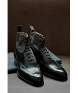 HANDMADE MEN ANKLE BOOTS, MEN LEATHER BOOTS, WINGTIP LEATHER BOOTS, ANKLE BOOT - $195.00