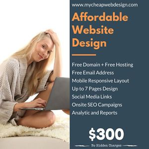 Affordable Web Design package with free domain name, free hosting and free email addresses for all types of businesses acrosss Canada and USA. Contact My Cheap Web Design today to get a high quality website done at really affordable price.