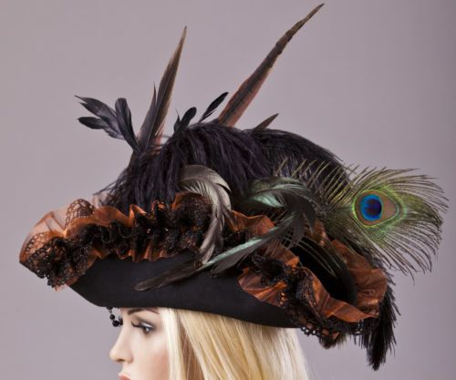 Piraten-Hut-Handmade-Pirate-Lolita-Hat-Gothic-Steampunk-Victorian-Feather-Cross