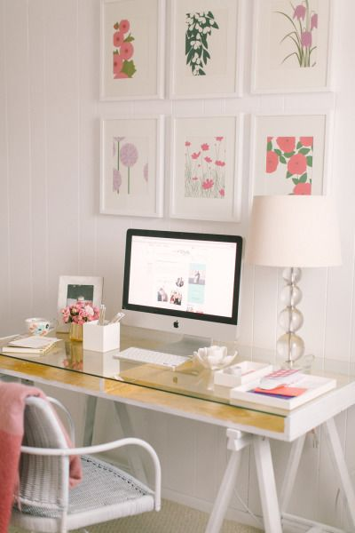 Chic office space with glass desk: http://www.stylemepretty.com/collection/1116/ Photography: Ruth Eileen - http://rutheileenphotography.com/