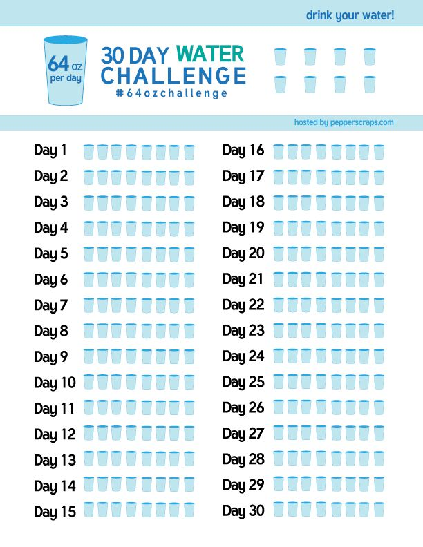30 day Water Challenge – #64ozchallenge | Free printable water tracker by Pepper Scraps. Plus you can join the challenge and get support!