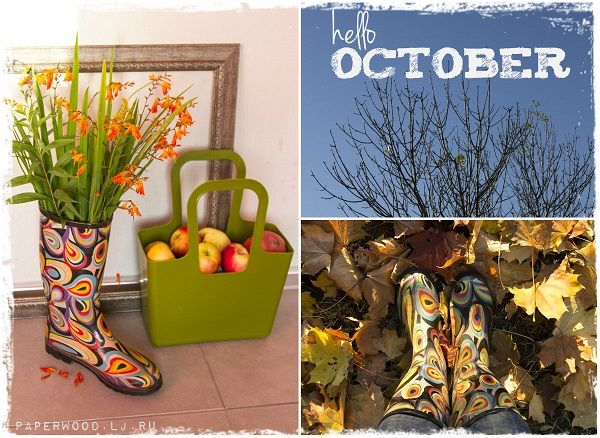 rubber boots home decor flowers