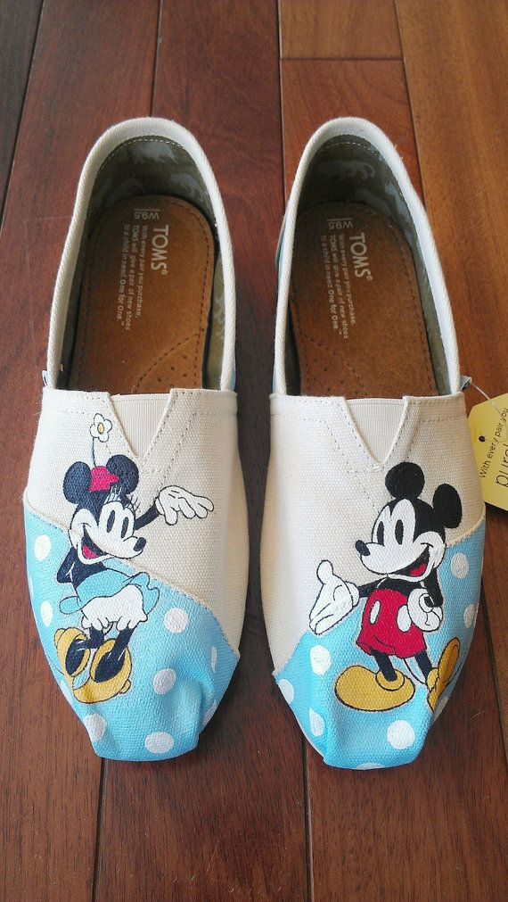 Polka Dot Minnie Mouse and Mickey Mouse Custom TOMS (Classic Disney Pictured) on Wanelo