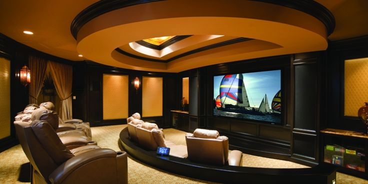 Built in cabinets and dark wall behind tv my future for Kitchen cabinets lowes with theater room wall art