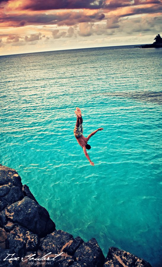 Cliff diving in Waimea Bay ~ Oahu, Hawaii • photo: Isac Goulart on 500px....did that when I was younger!