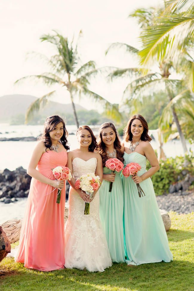 Romantic, Rustic Coral & Seafoam Green Maui Beach Destination Wedding