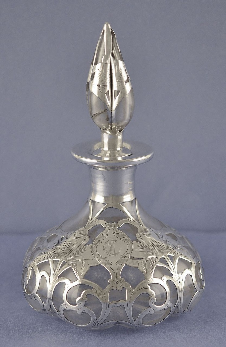 Circa 1910, American, Art Nouveau Style, Silver Overlay, Steuben Shape #1455, Melon Shaped, Perfume / Scent Bottle by the Alvin Manufacturing Co.