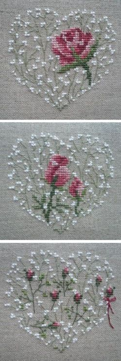 Hartje op linnen met roosjes erop geborduurd.