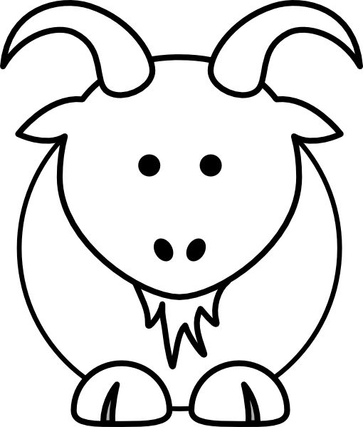 Many Animals Coloring Pages : Goat clip art animal coloring pages could be applied to