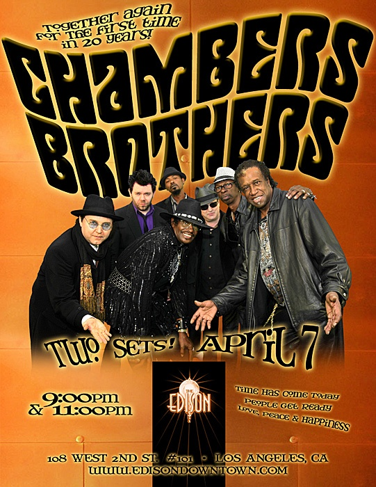 The Chambers Brothers LIVE / 1st show in 20 YEARS!!  10 admission. Downtown LA at the Edison Dress code can be found here:  http://www.edisondowntown.com/: Music Photos,  Dust Jackets, Edison Dresses,  Dust Covers, Dress Codes, Brother Living, Http Www Edisondowntown Com, Chamber Brother, Dresses Codes