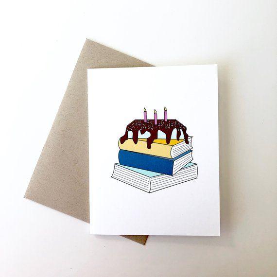 Book Lover Birthday Card Bookish Birthday Card Reading Birthday Card Book Cake Birthday Card Book Creative Birthday Cards Happy Birthday Cards Diy