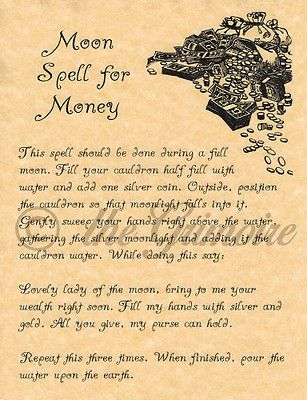 Book of Shadows Spell Page, MOON SPELL FOR MONEY, Witchcraft