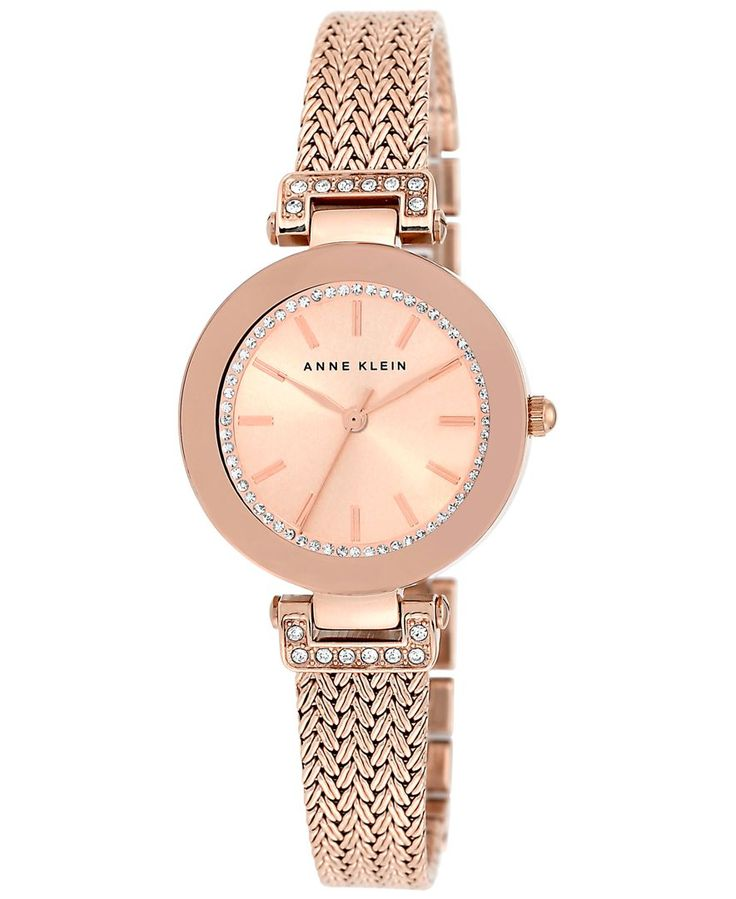 Anne klein women 39 s rose gold tone stainless steel mesh bracelet watch 30mm ak 1906rgrg for Anne klein rose gold watch set