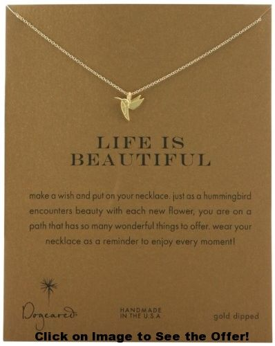 Dogeared Gold Plated Sterling Silver Life Is Beautiful Reminder Necklace, 18″